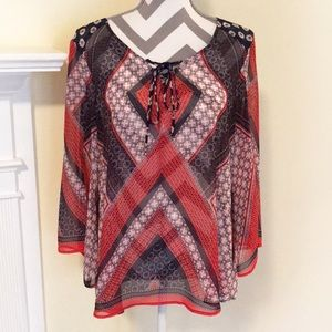 New Directions Sheer Boho Red/White/Blue Top